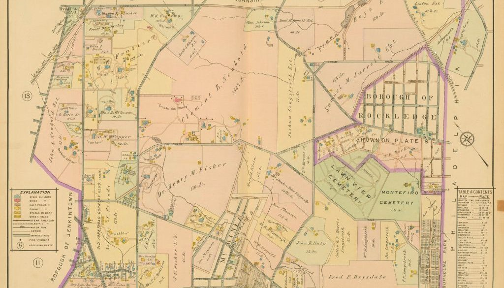 1916 Mueller Map of where I live in Jenkintown