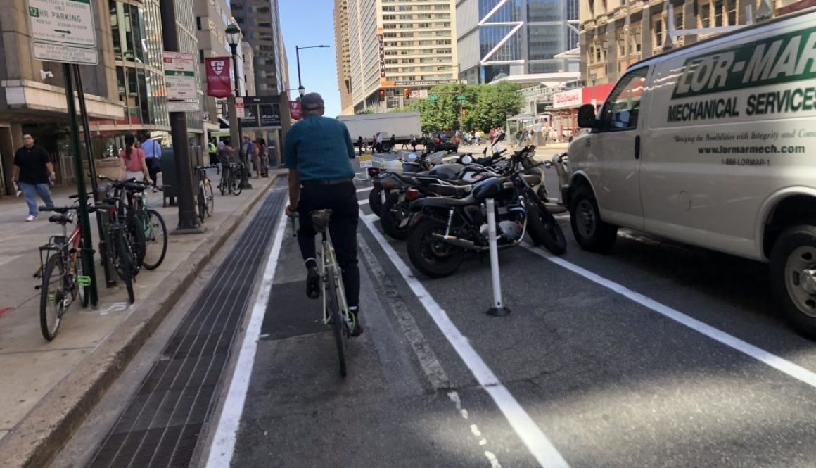 Protected bike lane on Market Street