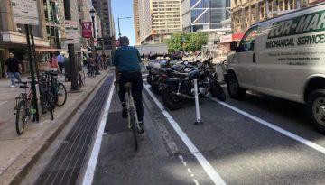 Protected bike lane on Market Street