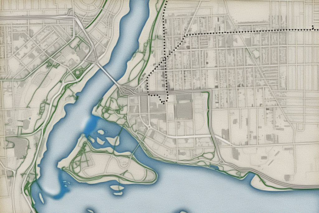 Niagara Falls Map by Steve Spindler. Data from Open Street Map Contributors CC-BY-SA.